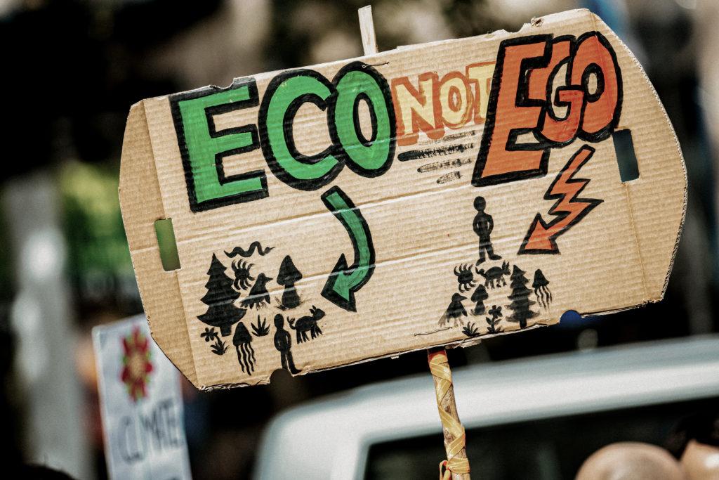 """Pappschild wird nach oben gehalten auf einer Klimademo, geschrieben steht """"Eco not Ego""""."""